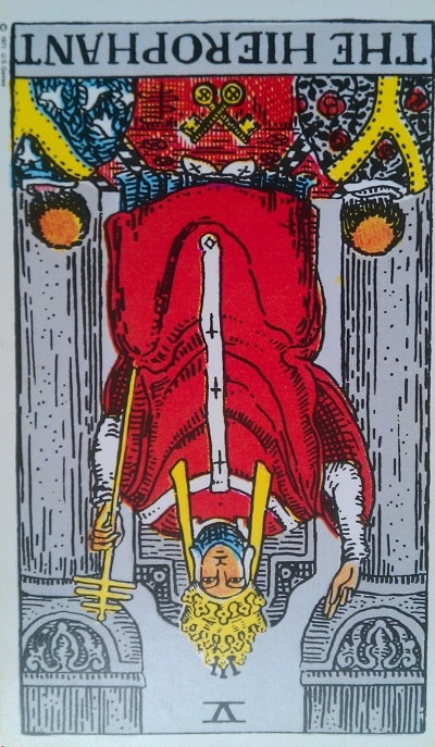 Inverted Hierophant Tarot Card Meaning (Reversed) – Major Arcana