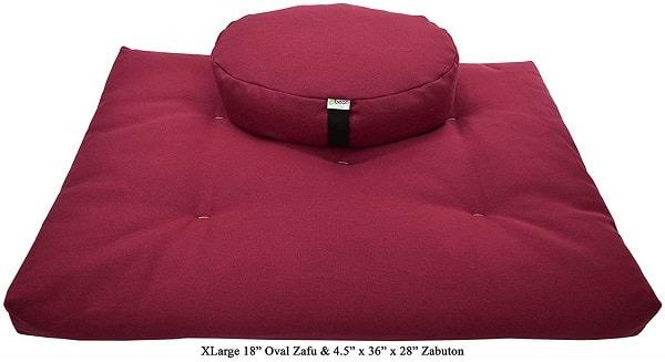 Bean Products Oval Zafu and Zabuton Meditation Cushion Set - Made with Cotton and Organic Buckwheat Fill