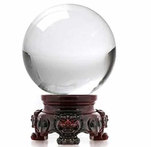 Amlong Clear Crystal Ball with Redwood Lion Resin Stand