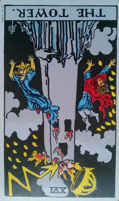 Inverted Tower Tarot Card Meaning (Reversed) – Major Arcana