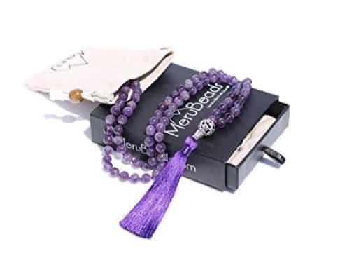 Meru Beads Premium 108 Mala Beads Meditation Necklace