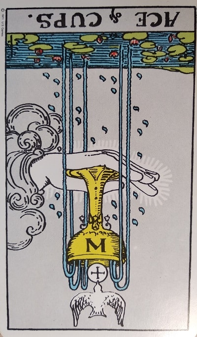 Reversed Ace of Cups Tarot Card Meaning – Minor Arcana