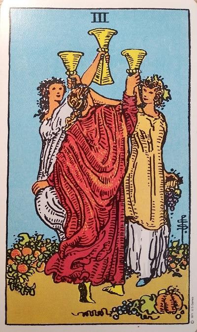 Upright (3) Three of Cups Tarot Card Meaning – Major Arcana