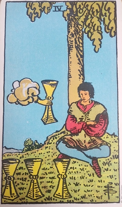 Upright (4) Four of Cups Tarot Card Meaning – Minor Arcana