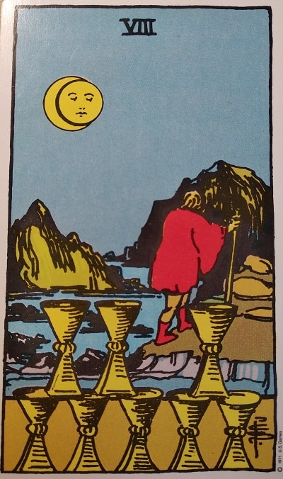 Upright (8) Eight of Cups Tarot Card Meaning – Minor Arcana