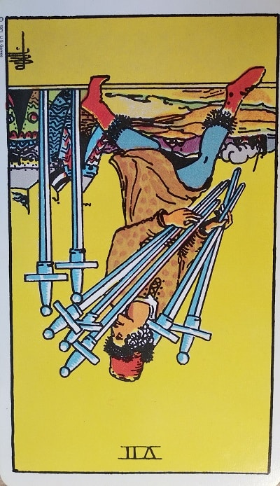 Reversed (7) Seven of Swords Tarot Card Meaning – Minor Arcana