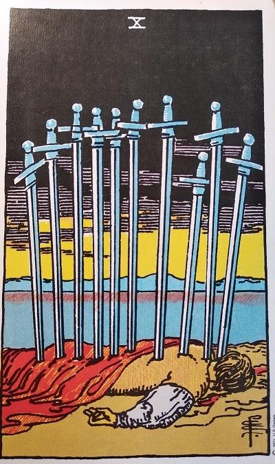Upright (10) Ten of Swords Tarot Card Meaning – Minor Arcana