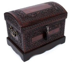 Colonial Mohena Wood and Leather Jewelry Box