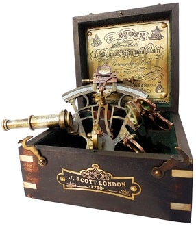 Brass Ship History Sextant with Hardwood Box