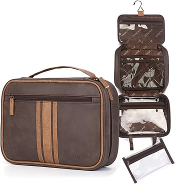 Hanging Toiletry Bag Organizer for Men VANCASE Vintage Leather