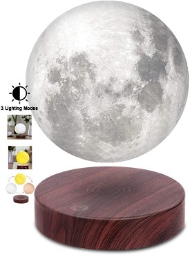 Levitating Moon Lamp, Floating and Spinning in Air Freely