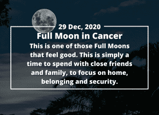 It's the last Full Moon of the year – and what a year it's been, right? This emotional and tender Full Moon in Cancer happens on 29 December, just before the New year celebrations. It's coming at just the right time, cleansing and clearing us for a brand-new year ahead! About the Cancer Full Moon This is one of those Full Moons that feel good. Yes, it'll be emotional, but at the same time, there are very few impediments or nasty surprises. This is simply a time to spend with close friends and family, to focus on home, belonging and security. Keywords for this Cancer Full Moon are: family, home, emotions, safety, connection, love, release, tears, memories, gentle surprises and change. Energies affecting this Full Moon The Moon rules the sign of Cancer, so this is a Full Moon that feels natural and right. Things flow more easily during this Full Moon, including feelings, emotions and even grief for the year that has passed by. Cancer is a sign that rules memory, so many of us may go over the memories of 2020, looking once again at all the tough moments, and the triumphs. The opportunity here is to take hold of the successes, and to release the failures. A new dawn is coming, and with it, surprises and excitement. We do need to be mindful that this Full Moon doesn't have us ruminating for too long, or dwelling on the moments we failed. Everyone in the world had some tough times over 2020, and this can make us feel connected to our fellow man – we have all been in this together. There are, for once, no tricky connections to this Full Moon, although we may need to find balance between head and heart. Mercury opposes this Full Moon, asking us to find ways of speaking about our feelings, of communicating what we need over these few days. The Full Moon in Cancer also asks us to spend some precious time with those we love, and who love us. Its gentle sextile to Uranus also suggests that there are some surprising memories and moments that will come up to be released, laughed 